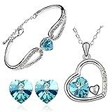 Cyan Heart in Heart Pendant set and heart bracelet combo for Women best price on Amazon @ Rs. 599