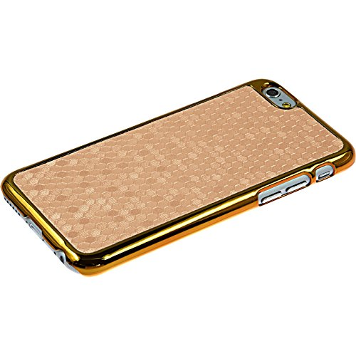 PhoneNatic Case für Apple iPhone 6 Plus / 6s Plus Hülle schwarz Hexagon Hard-case für iPhone 6 Plus / 6s Plus + 2 Schutzfolien Gold