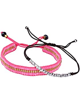 KELITCH Armband 2 Stück Kristall Rocailles Perlen Zart Schnur Freundschaftsarmbänder