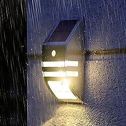 Rayinblue Wand-Solarleuchte für Garten, Sicherheitssystem mit drahtlosem LED-Solar-Bewegungssensor, für Haus, Terrasse, Deck, Hof, Einfahrt, Garage, Treppen und Außenwände