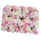 Non-brand Panneau Mural en Forme de Fleur Artificielle - 60 x 40 cm - Toile de Fond Romantique - Toile de Fond - pour Photographie de Mariage, Mixed Rose, 60 x 40 cm