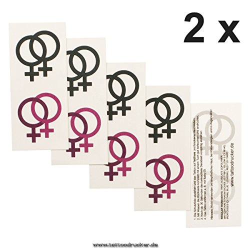 2 x Lesbian Logo Tattoo Karte - Lesbian Symbol in pink und schwarz - Temporary Tattoo (2)