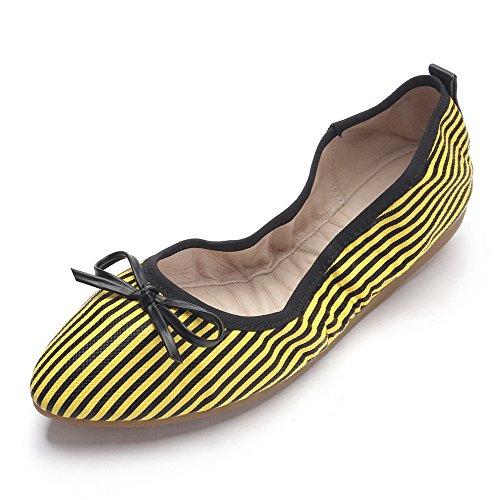 VogueZone009 Damen Pu Leder Ziehen Auf Spitz Zehe Niedriger Absatz Flache Schuhe Gelb