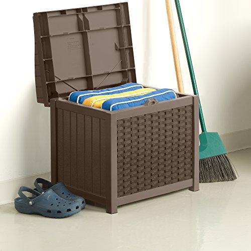 Suncast SSW1200 ® Premium Garden Storage Seat Box Suitable For Indoor & Outdoor Storage (83 Litre Capacity - Taupe)