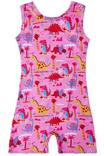 Loveternal Dance Kleidung Mädchen Gymnastik Leotard Trikots 3-4 Bunte One Piece Sleeveless Sparkle Dinosaurier Turnanzug Mädchen Biketards Athletic Ballet Unitards für Teen Teenager Rosa (Unitard Bunte)