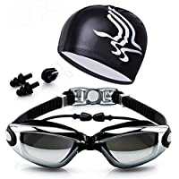 Swimming Kit Eye goggles Anti fog With head cap ear and nose plug Black