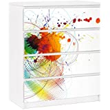 Vinilo adhesivo para muebles IKEA - Malm Dresser 4xDrawers - Rainbow Background, Tamaño:4 veces 20cm x 80cm