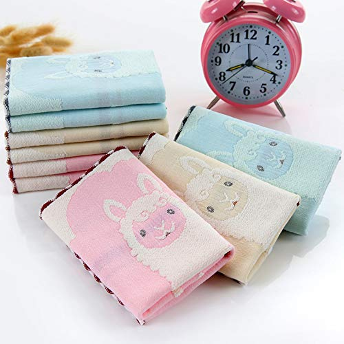 WLLLO 3 Baumwolle Gaze, Alpaka Schals, weiche und saugfähige Baumwolle Kinder Gesicht Cartoon Baby Handtuch.