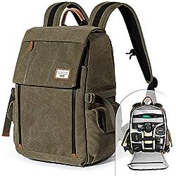 Zecti Sac à dos professionnelle pour appareil photo antichoc Sac à bandoulière en toile imperméable pour DSLR Grande capacité - Verte