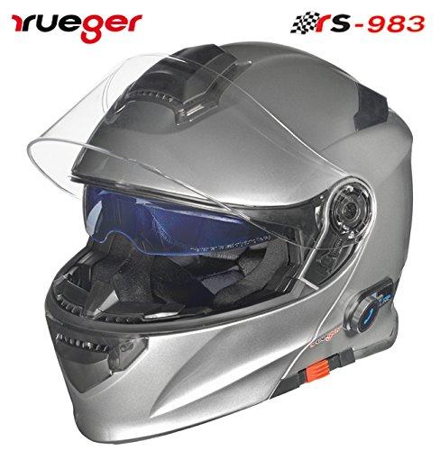 rueger Klapphelm RS-983 COM Titanium Grau mit Bluetooth und getöntem inneren Klappvisier. Größe M (57-58)
