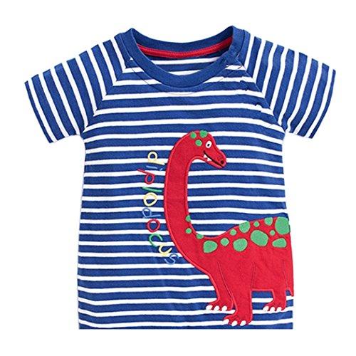 t Baumwolle Streifen Feuer Cartoon Auto Muster Jungen Mädchen Kurzarm Oberteil Pullover Größe (110, Blauer Dinosaurier) (Dinosaurier Für Kinder)