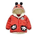 Longra Kleinkind Baby Wintermantel Winterjacke für Jungen Mädchen Cartoon Hoodie Jacket Kapuzejacke Mit Teddy-Futter Baumwolle Jacken Mantel Warme Winterparka (90CM 18Monate, Rot)