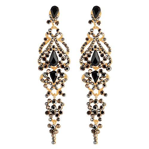Art Deco Schwarz Strass Kristall Cluster Chandelier Kronleuchter Lange Baumelnde Statement Ohrringe Partei Abschlussball - Antiquitäten, Kristall-kronleuchter