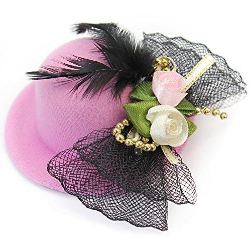 Barrette Pince Epingle Mini Chapeau Plume Papillon Cheveux Décor Femme Fille