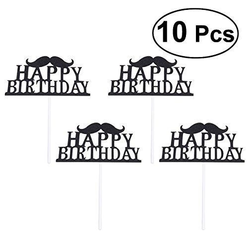 zum Geburtstag Kuchen Topper Party Supplies Dekoration Ideen Party Favors, Packung mit 10 (schwarz) ()