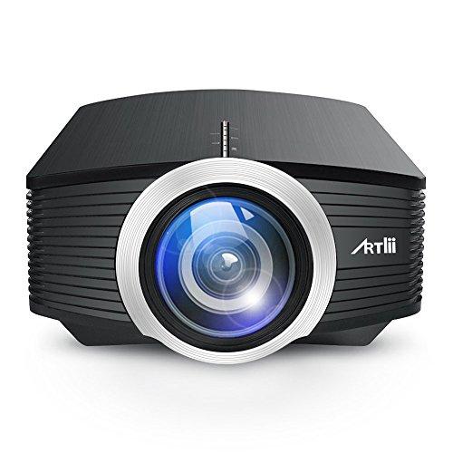 Home Cinema Proiettore , Artlii TV e Video Mini Videoproiettore Supporto per con AV, USB, VGA, HDMI, TF Connecteurs,Progettato con una Potente Cavità Dell'altoparlante