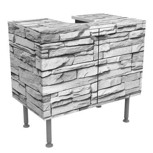 Design Vanity Ashlar Masonry 60x 55x 35cm, klein, 60cm, verstellbar, Waschbecken, Unterschrank, Waschtisch, Badezimmer Schrank, Unterschrank, Badezimmer, schmal, flach, Maße: 55cm x 60cm