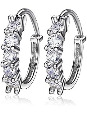 F.ZENI Creolen Silber 925 Sterling Silber Funkeln Kubisches Zirkonia Blume Hoop Ohrringe Kreolische Ohrringe für...