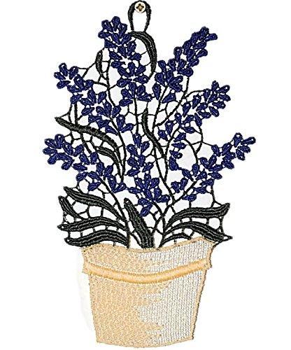 mediterranes Fensterbild 13x21 cm PLAUENER SPITZE ® LAVENDEL im Blumentopf farbig Sommer HERBST Spitzenbild