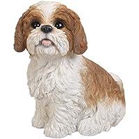 Vivid Arts XRL-SZ12-B marrone e bianco seduta shih tzu cane resina ornamento
