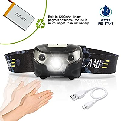 1200Mah Lithium-Polymer-Akku Erbaut im 160 Lumen USB wiederaufladbare LED-Scheinwerfer Stirnlampe/Kopflampe/Taschenlampe, 3 Lichtmodi , Motion Sensor Control,Super hell,IPX4 wasserdicht, wasserdicht,komfortabel, Perfekt fürs Joggen, Gehen, Campen,Joggen,