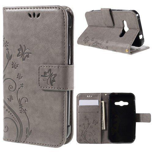 jbTec® Flip Case Handy-Hülle zu Samsung Galaxy Xcover 3 / SM-G388F - Book Muster Schmetterlinge S16 - Handy-Tasche Schutz-Hülle Cover Handyhülle Ständer Bookstyle Booklet, Farbe:Grau