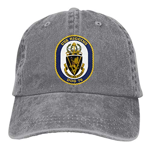 Nicegift USS_Higgins_DDG-76 Denim Baseball Cap Men Women Golf Hats Adjustable Plain Cap Gray