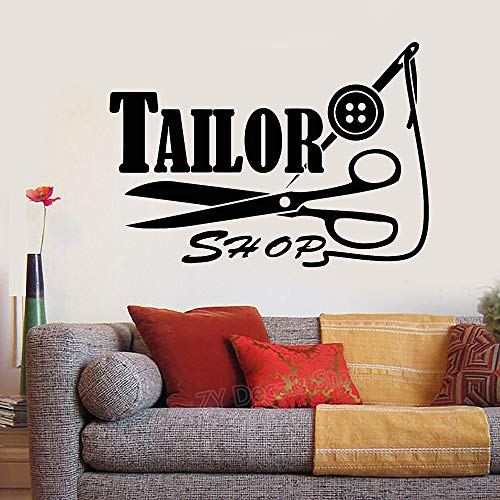 60X42 cm Tailor Shop Logo Sign Decal Wall Sticker Threads Needle Scissors Stickers Home Wall Decor Murals adesivoe dee