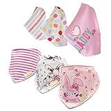 Casa Baby Lätzchen Dreieckstuch, 6 Stück Baby Bandana Lätzchen mit Justierbarem Druckknöpfen für Baby Jungen und Mädchen 0-3 Jahre