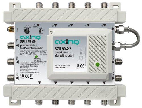 Axing SPU 56-09 SAT-Multischalter 6 Teilnehmer Premium-Line erweiterbar aktiv Quad-tauglich energiesparend (5 x 6)