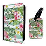Accessories4Life Tropical Flamingos Stripes Flowers Luggage Tag & Passport Holder - S726