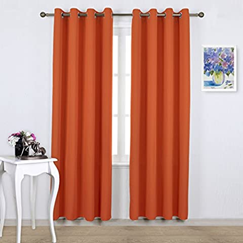 Thermal Insulated Eyelet Blackout Curtains - PONYDANCE Windows Treatment for Living Room / Energy Saving & Noise Reducing, 52