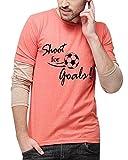 Campus Sutra Men's Printed Regular Fit T-Shirt (SS16MEL_RNFSSLD_M_SFG_PHBR_Peach::Brown_Medium)