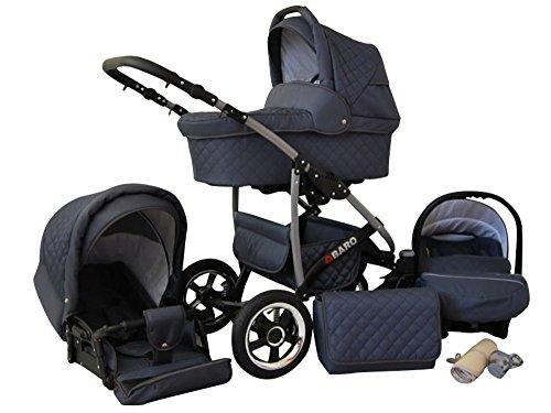 Lux4Kids Kinderwagen Komplettset (Autositz & Adapter, Regenschutz, Moskitonetz, Schwenkräder; 9 Farben) 01 Graphit Q-Bus