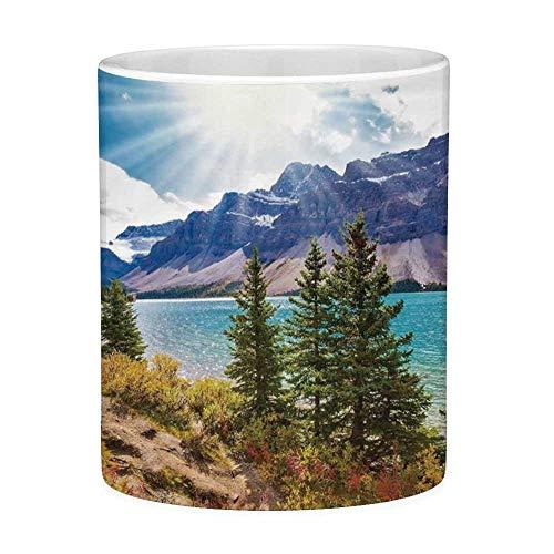 Rongpona Lustige Kaffeetasse mit Zitat-Landschaft 11 Unzen Lustige Kaffeetasse Nationalpark Banff Kanadier Rocky Mountains Bäume Gletschersee Sunny Sky Aqua Mauve Green