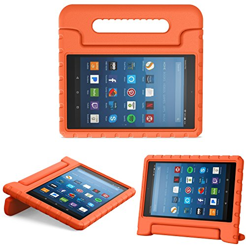 MoKo Hülle für All-New Amazon Fire HD 8 Tablet (7th & 8th Generation - 2017 & 2018 Modell) - Superleicht Eva Kids Shock Proof Cover Stoßfest Kindgerechte Schutzhülle, Orange (Kindle Fire Kid-fall Hd 7,)