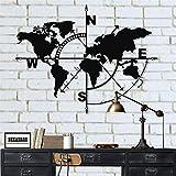 DEKADRON Métal Carte du Monde - Métal Weltkarte - 3D Mural Silhouette Décoration Murale en Métal Home Office Décoration Chambre à Coucher Salle de Séjour Décor Sculpture (98 x 75 cm)...
