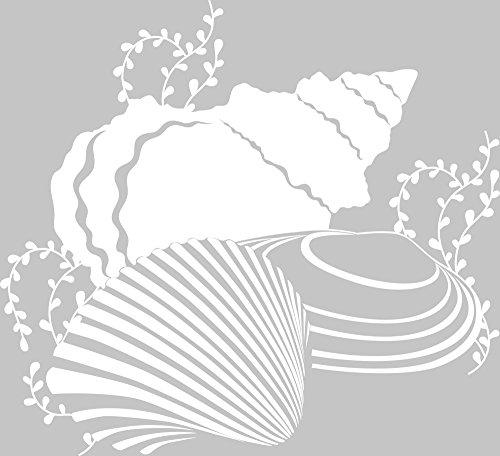 GRAZDesign 650142 Wandtattoo Muscheln/Ozean – Fliesenaufkleber Unterwasserwelt | Fliesen-Aufkleber-Tattoo für Badezimmer