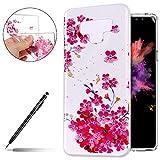 Silikonhülle Samsung Galaxy Note 9 Ultra Dünn Handyhülle Silikon TPU Bumper Handytasche Rückseite Hülle Durchsichtig Transparent Weiche Crystal Kirstall Tasche,Rosa Kirsche Blume