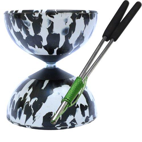 Preisvergleich Produktbild Diabolo Set Harlekin medium zweifarbig schwarz/weiß mit Alu-Handstäben und Spielanleitung