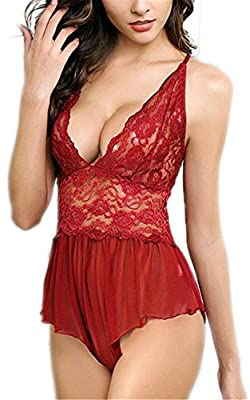 RZS Women's Sexy Lingerie See-through Babydoll Set Lace Teddy Open Crotch Pant Dress