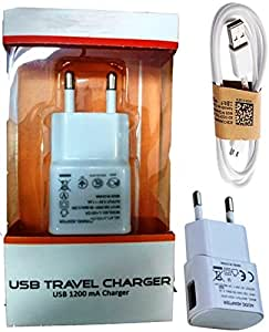 Spice M-5750 COMPATIBLE CHARGER / WALL CHARGER / TRAVEL CHARGER / MOBILE CHARGER WITH 1 METER USB CABLE - WHITE