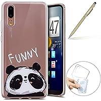 Handy Tasche für Huawei P20 Silikon Hülle Durchsichtige Schutzhülle Crystal Clear Transparent Ultra Dünn Handyhülle Silikonhülle Kristall Klar TPU Bumper,Panda