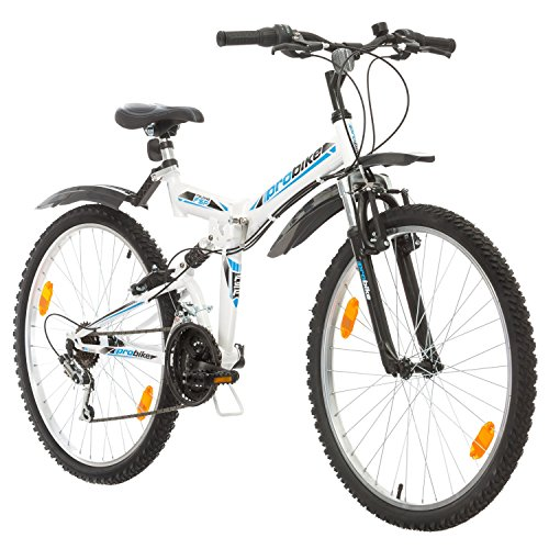 Multibrand, PROBIKE Folding FSP 26, 26 Zoll, 457mm, Klapp Mountainbike, 18-Gang, Full Suspension, Unisex, Weiß Glänzend Schwarz-Blau Rot Grau (Schwarz-Blau + Kotflügel)