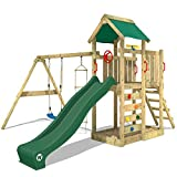 WICKEY Spielturm MultiFlyer Kletterturm Spielplatz Garten mit Schaukel, Rutsche und Kletterwand, grüne Rutsche + grüne Plane