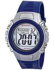 Montre digital Homme - bracelet Plastique Bleu - Cadran Rond Fond Gris et Bleu - Marque Montre Concept - MR8515