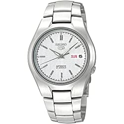 Seiko 5 Men's Automatic Watch with Silver Dial Analogue Display and Silver Stainless Steel Bracelet SNK601K1