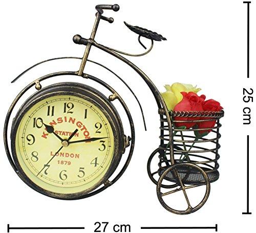Metall-dämpfer (Double Y Antik Metall Fahrrad Dämpfer Schreibtisch Uhr, 25cm hoch Uhr, perfekte Dekoration Geschenk und klassische Regal Uhr, Double Sides)