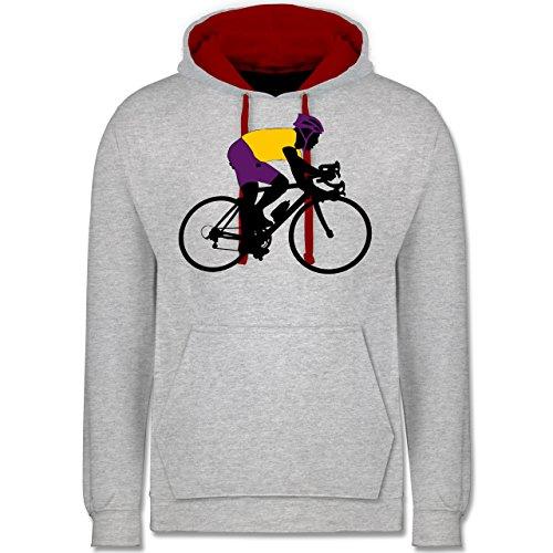 Radsport - Rennrad Triathlon - Kontrast Hoodie Grau Meliert/Rot