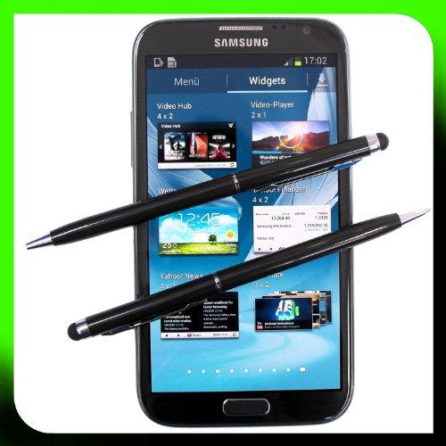 2x SCHWARZ tomaxx kapazitiver Stylus Pen - Eingabestift mit Kugelschreiber für Sony Xperia Z2 Tablet, Sony Xperia Z2, Samsung Galaxy S5, Samsung Galaxy Note Pro P905, P900, Samsung Galaxy Tab PRO, ZTE Nubia Z5S, Samsung Galaxy Core LTE, Samsung GALAXY Core Plus, Alcatel One Touch Idol Alpha, LG L40, LG L70, LG L90, Wiko Highway, LG G Pro 2, Samsung Galaxy Note 3 Neo LTE+, HTC Desire 310, doro Primo 571, Allview A5 Quad, Sony Xperia T2 Ultra Dual